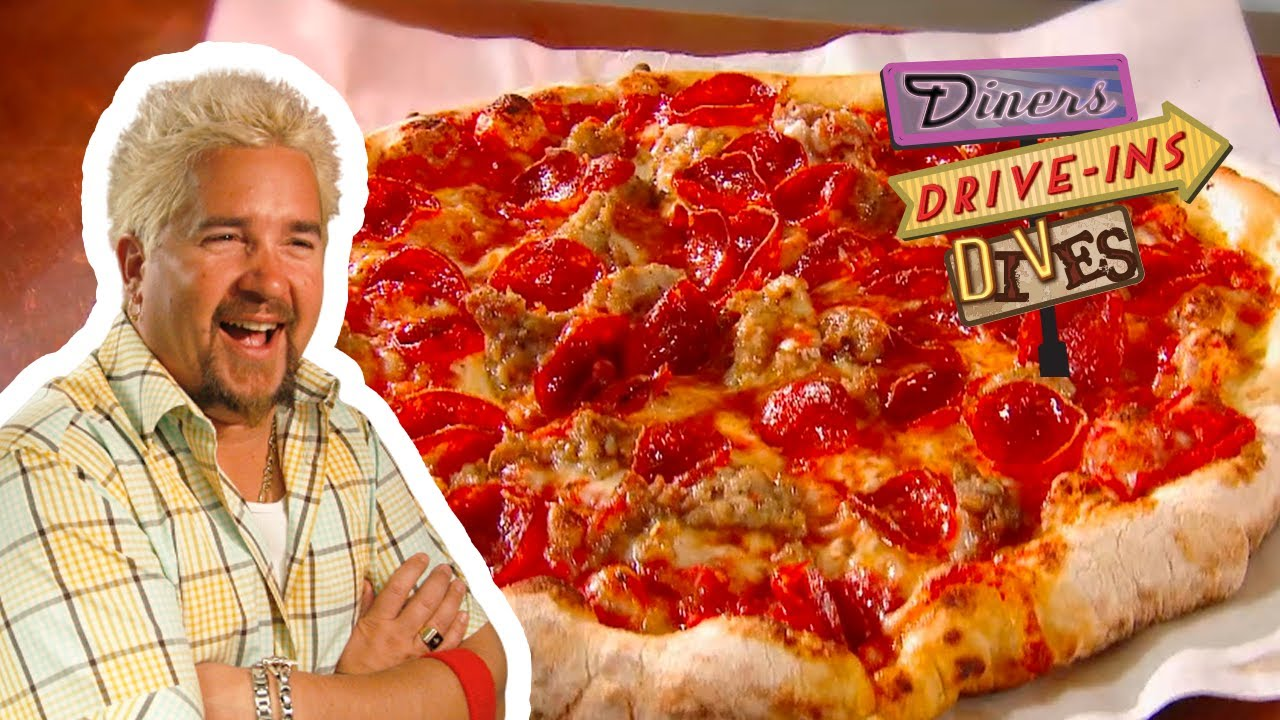 Download NOT Average Sausage & Pepperoni Pizza   Diners, Drive-ins and Dives with Guy Fieri   Food Network