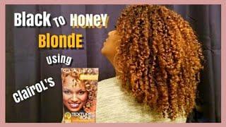 #Clairol #BlackToBlonde Box Dye for Natural Hair NO BLEACH | Black To Honey Blonde Curls