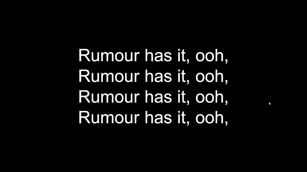 Adele - Rumour Has It Lyrics | MetroLyrics