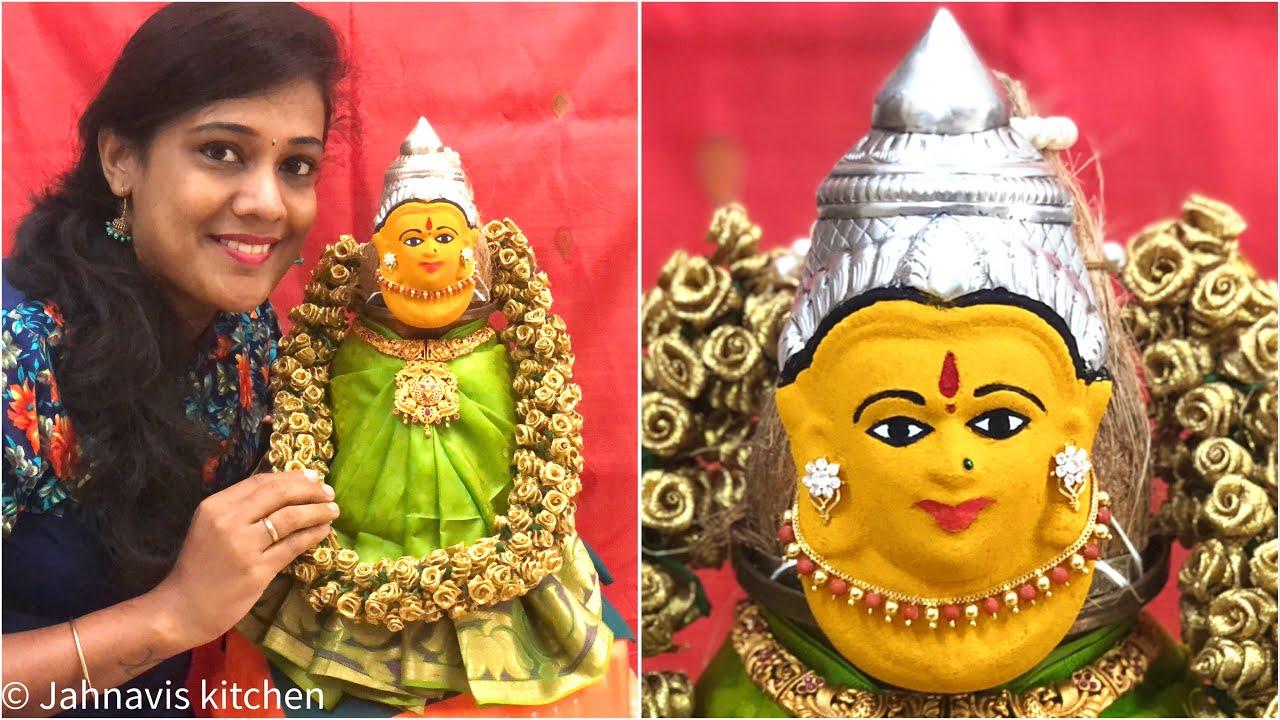 Lakshmi Face Make up   Varamahalaxmi festival decoration