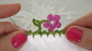 Tığ işi 5 Yapraklı Çiçek Motifli Yazma Kenarı