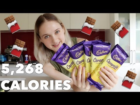 Girl Eats FIVE Cadbury Caramilk Chocolate Bars
