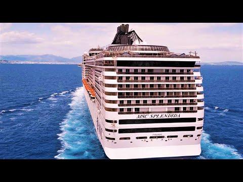 Cruise ship MSC Splendida 4K live winter Mediterranean
