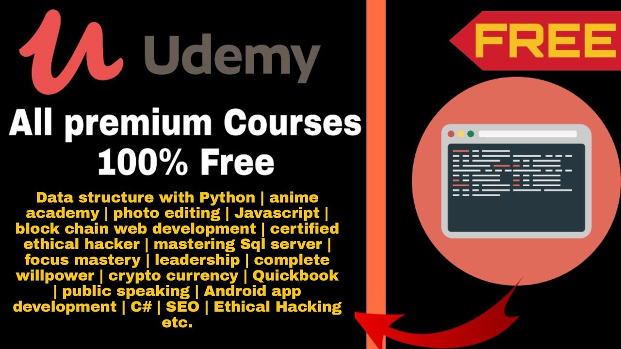 udemy free online courses with Certificate - udemy premium c