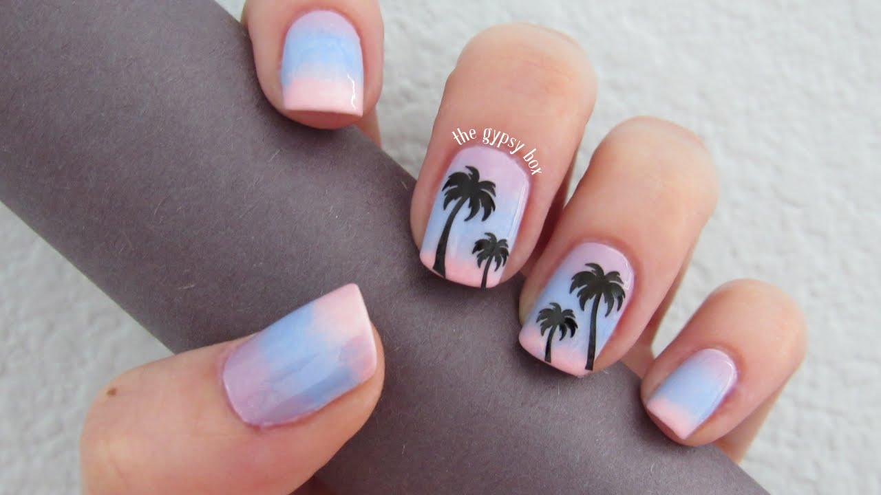 Sunset Palm Trees Nail Art Design | TheGypsyBox - YouTube