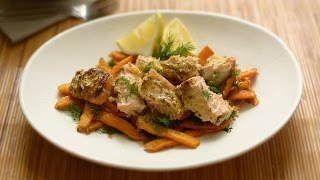 Roasted Salmon W Mustard & Lemon Sweet Potato Fries