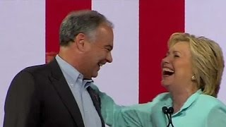 Hillary Clinton: The next VP is Tim Kaine During a campaign rally in Miami, Hillary Clinton introduced Virginia Sen. Tim Kaine as her running mate for vice president.