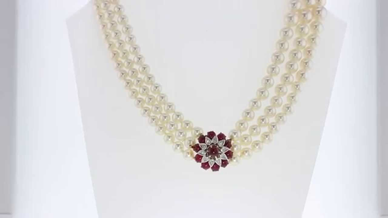 3 Row Pearl Necklace With Antique Ruby And Diamond Clasp