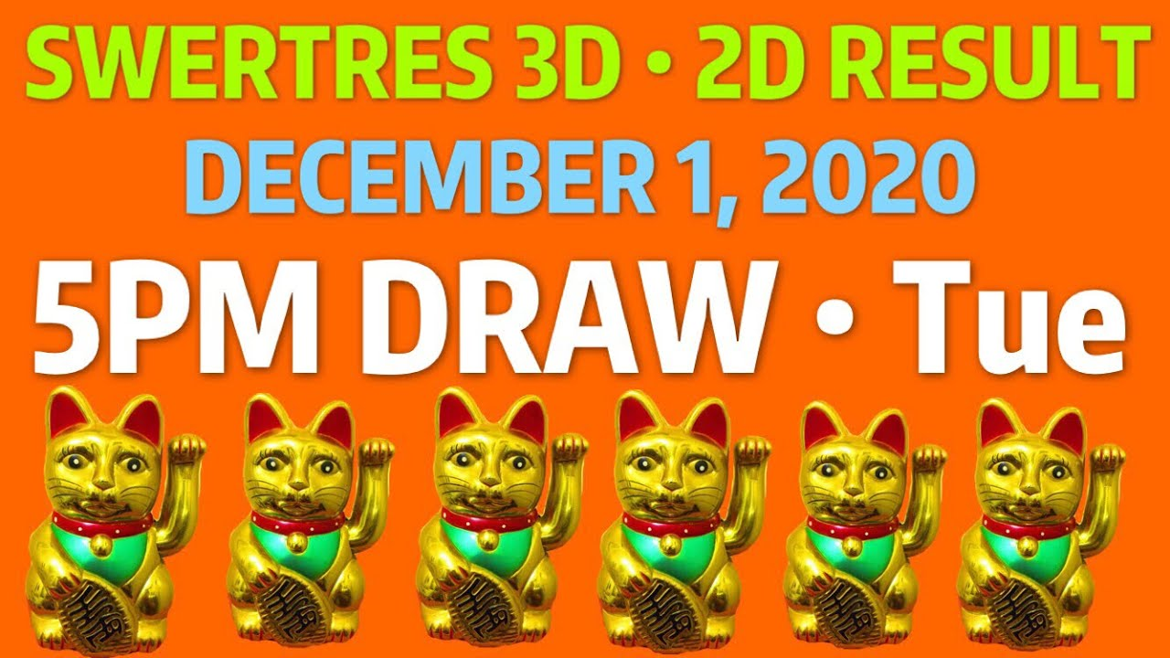 Swertres Result 5pm Draw December 1 2020 Tue 2d Lotto Result Pcso 3d Lotto Draw Today Youtube
