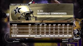 NCAA Football 09 Vanderbilt Commodores Overall Player Ratings