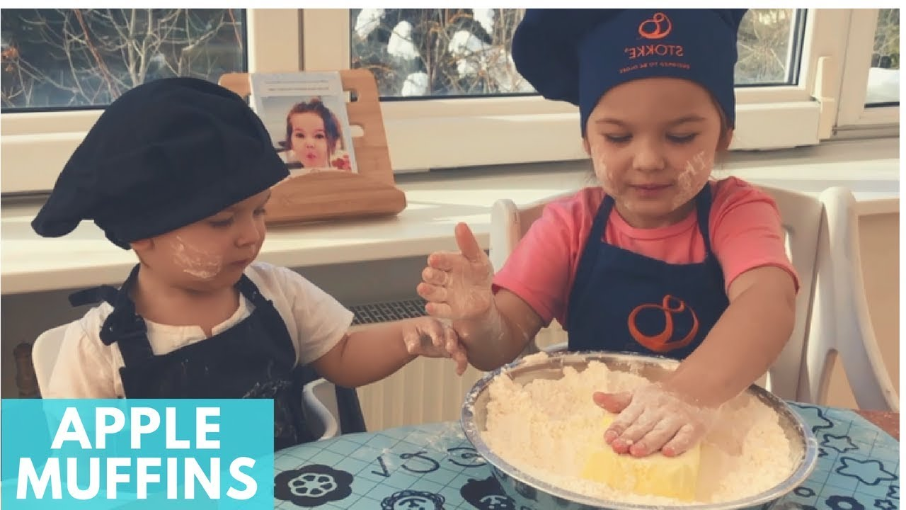 Baby Olga Making Apple Muffins with Tea | Big Little Chef