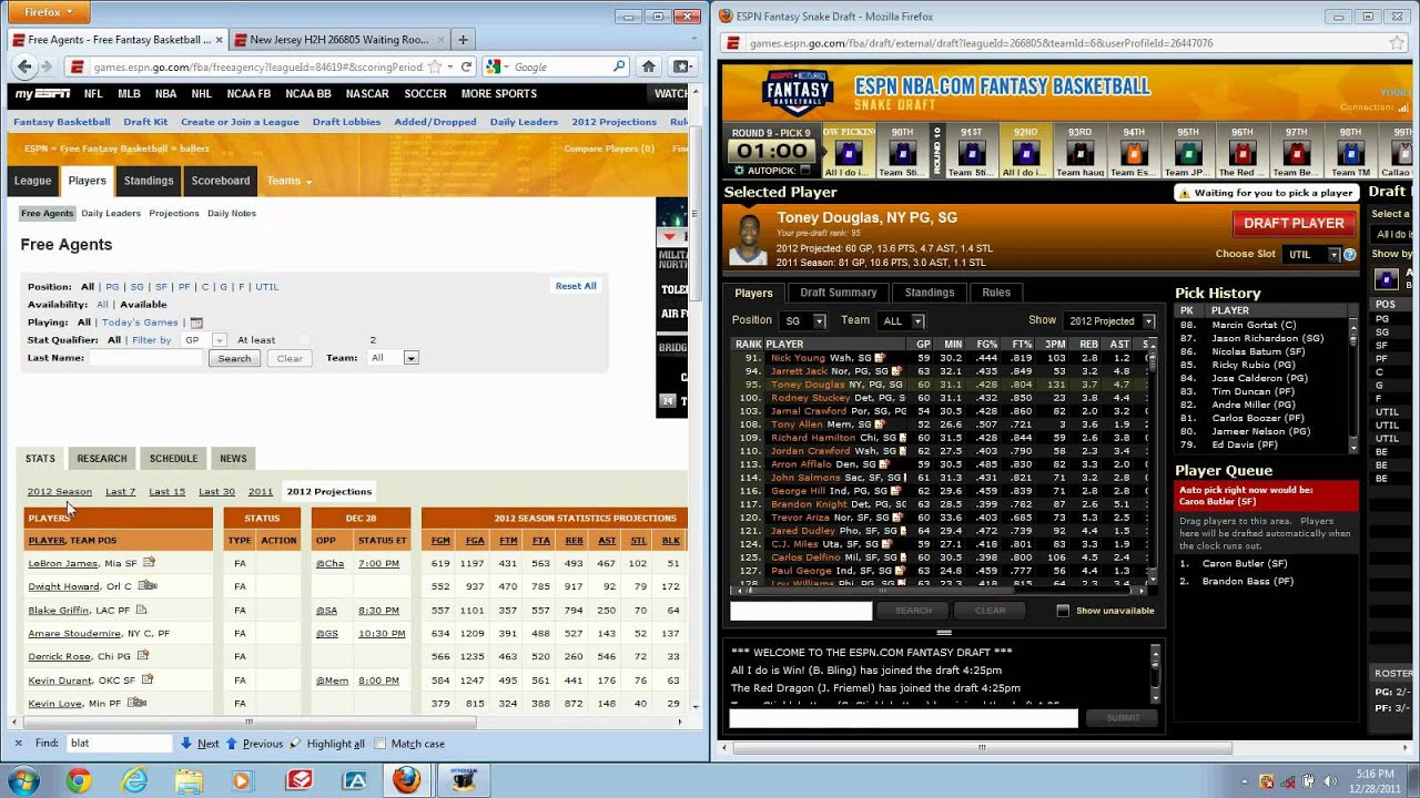 Full ESPN Fantasy Basketball Snake Draft With A Tutorial On How To Draft  The Best Team