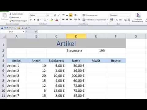 Tabellenkalkulation Excel