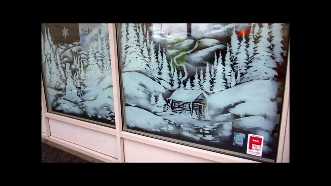 Christmas Window Snow Scene Painting - YouTube