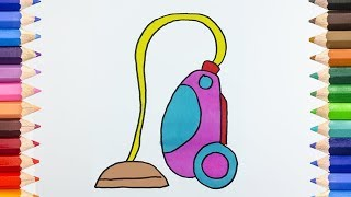 Coloring Pages Vacuum Cleaner | Learning How to Draw Vacuum Cleaner for Kids | Colouring Videos