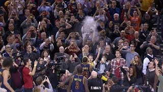 LeBron James performs chalk toss before season opener: New York Knicks at Cleveland Cavaliers.