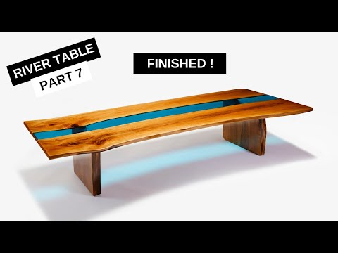 Epoxy River Table with Live Edge & LED Lights - Part 7