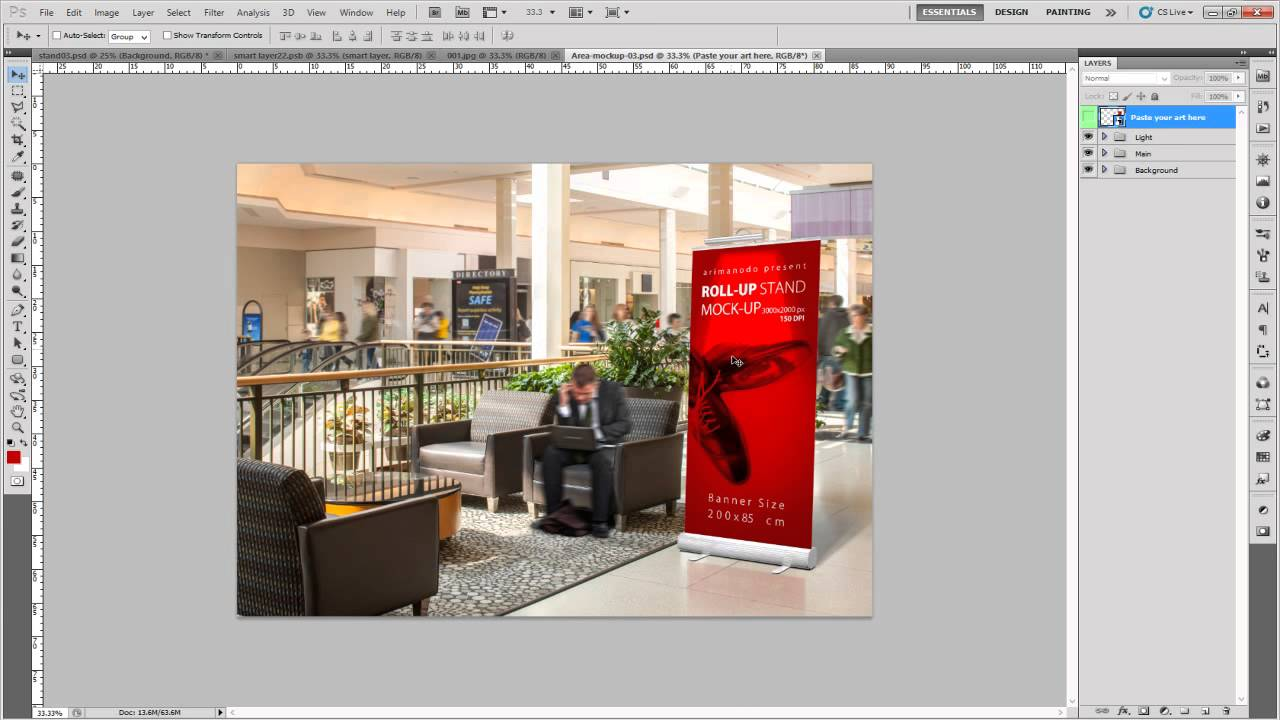 roll up banner stand mock up youtube