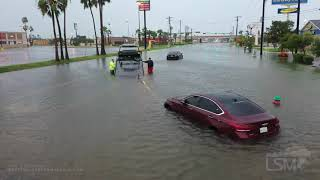 7262020 Weslaco, Tx Flash flooding drowns, businesses and cars from Tropical Storm Hanna, drone