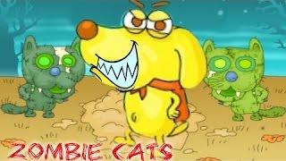 Супер мультик  игра Zombie cats кошка зомби.Кошки зомби против супер собаки.