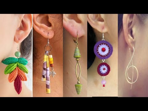 5 types of paper earrings making ideas at home very beautiful and amazing and easy ideas
