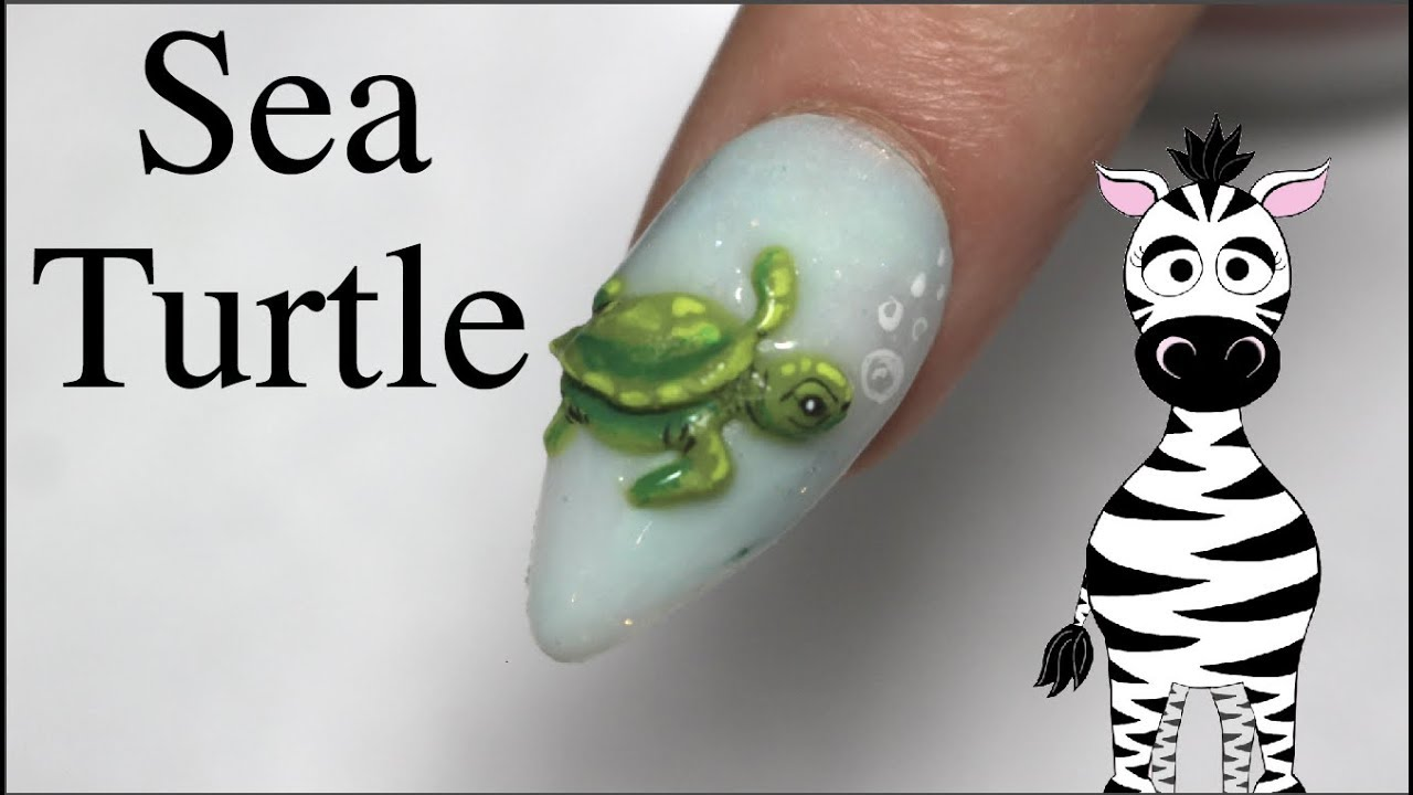 3D Sea Turtle Acrylic Nail Art Tutorial - YouTube