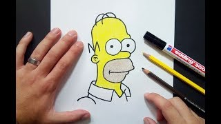Como dibujar a Homer Simpson paso a paso 5 - Los Simpsons | How to draw Homer Simpson 5