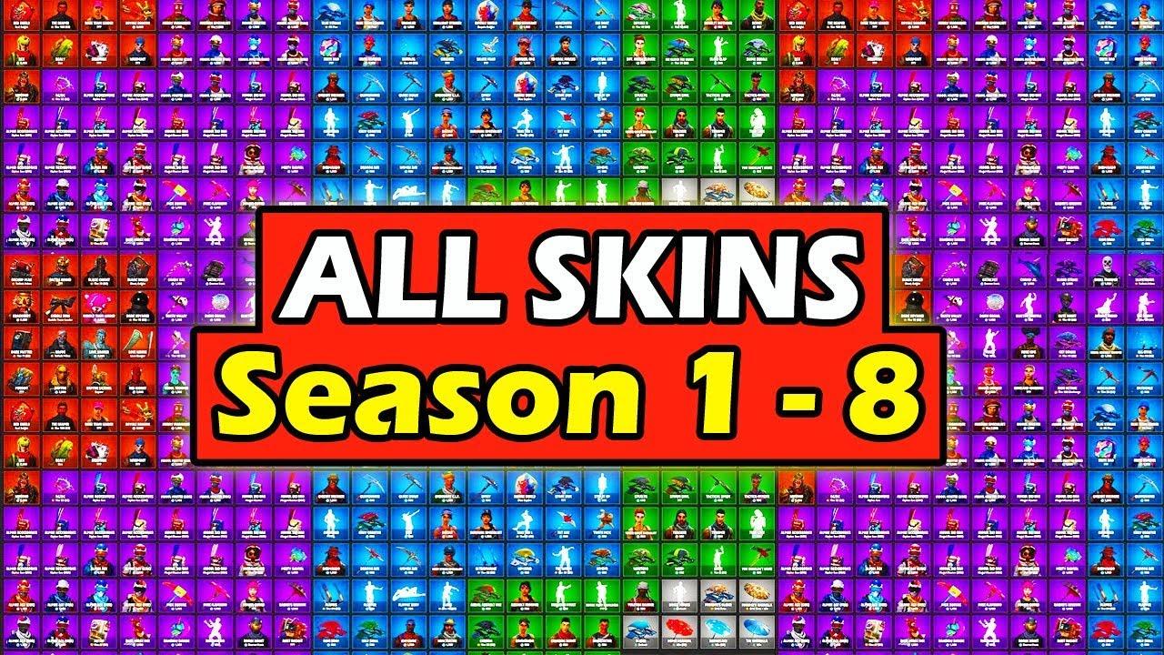All Skins In Fortnite Battle Royale Season 1 8 Showcase