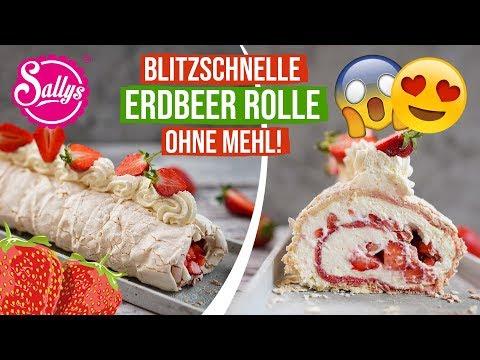 Erdbeerrolle ohne Mehl / Blitzschnell zubereitet / Sallys Welt