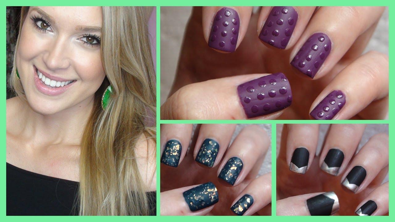 matte nail art three easy ideas
