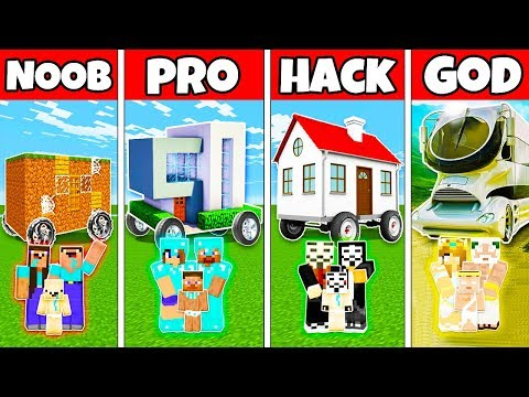 Minecraft: FAMILY MODERN HOUSE ON WHEELS BUILD CHALLENGE - NOOB vs PRO vs HACKER vs GOD in Minecraft
