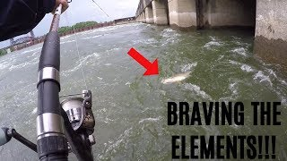 BRAVING THE ELEMENTS!!! Fishing INSANE Waters to Catch Catfish and Drum
