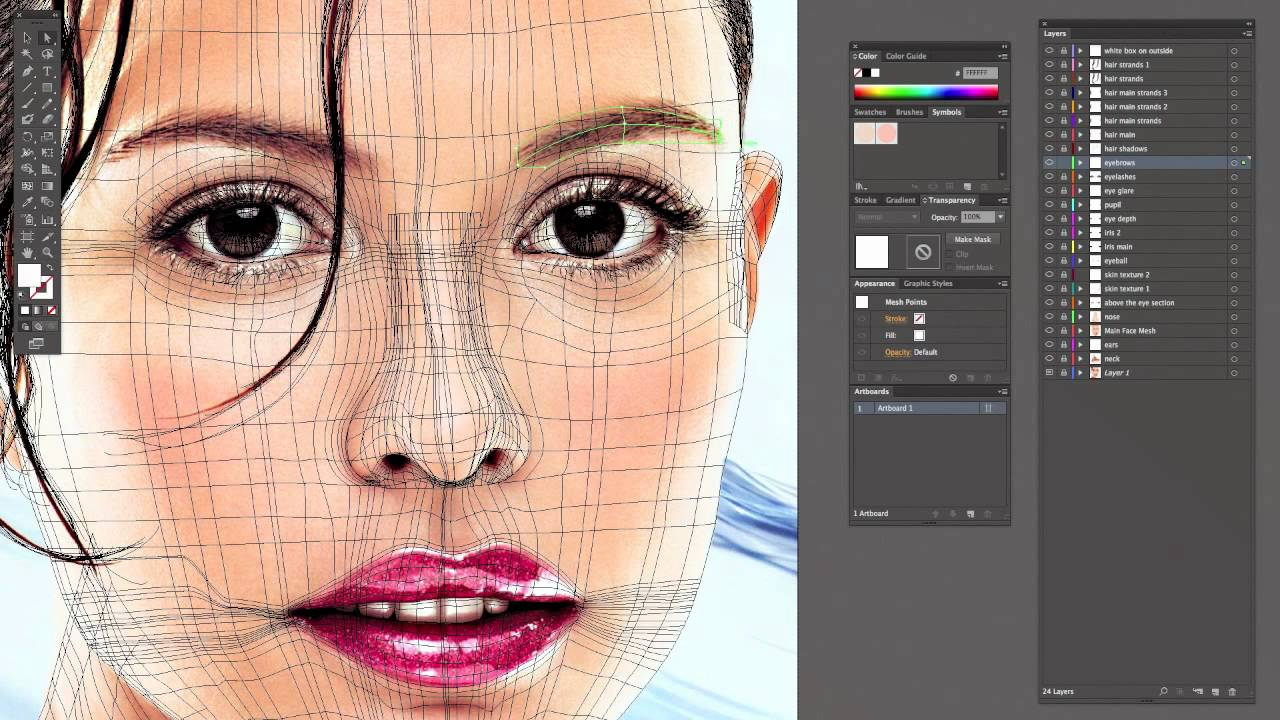 Image result for illustrator mesh tool portrait