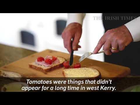 Mícheál Ó Muircheartaigh making a ham sandwich
