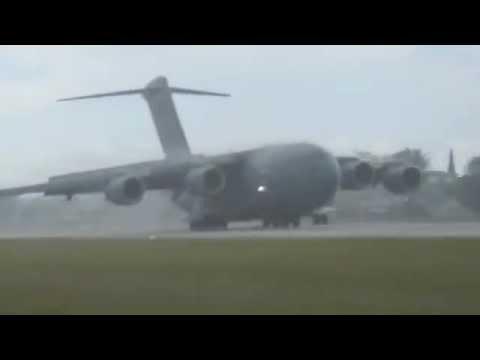 RAAF Boeing C-17 Globemaster III landing at Nauru International Airport, Republic of Nauru