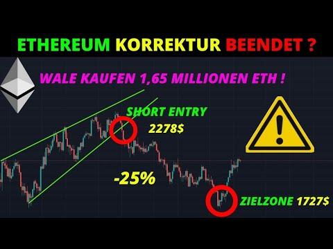 ETHEREUM KORREKTUR BEENDET ? WALE KAUFEN 1,65 MILLIONEN ETHEREUM ! Ethereum Chartanalyse und News
