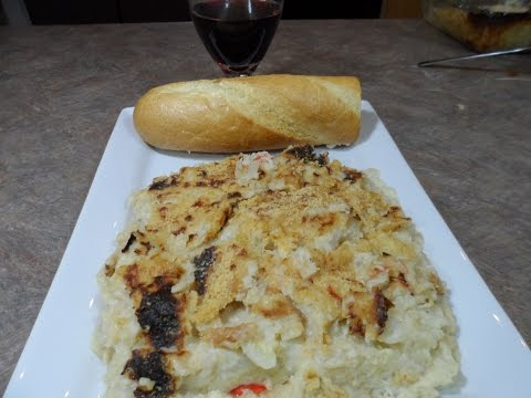 Cauliflower Snow Crab Meat Casserole VERY HEALTHY, LARGE, AND DELICIOUS DISH!