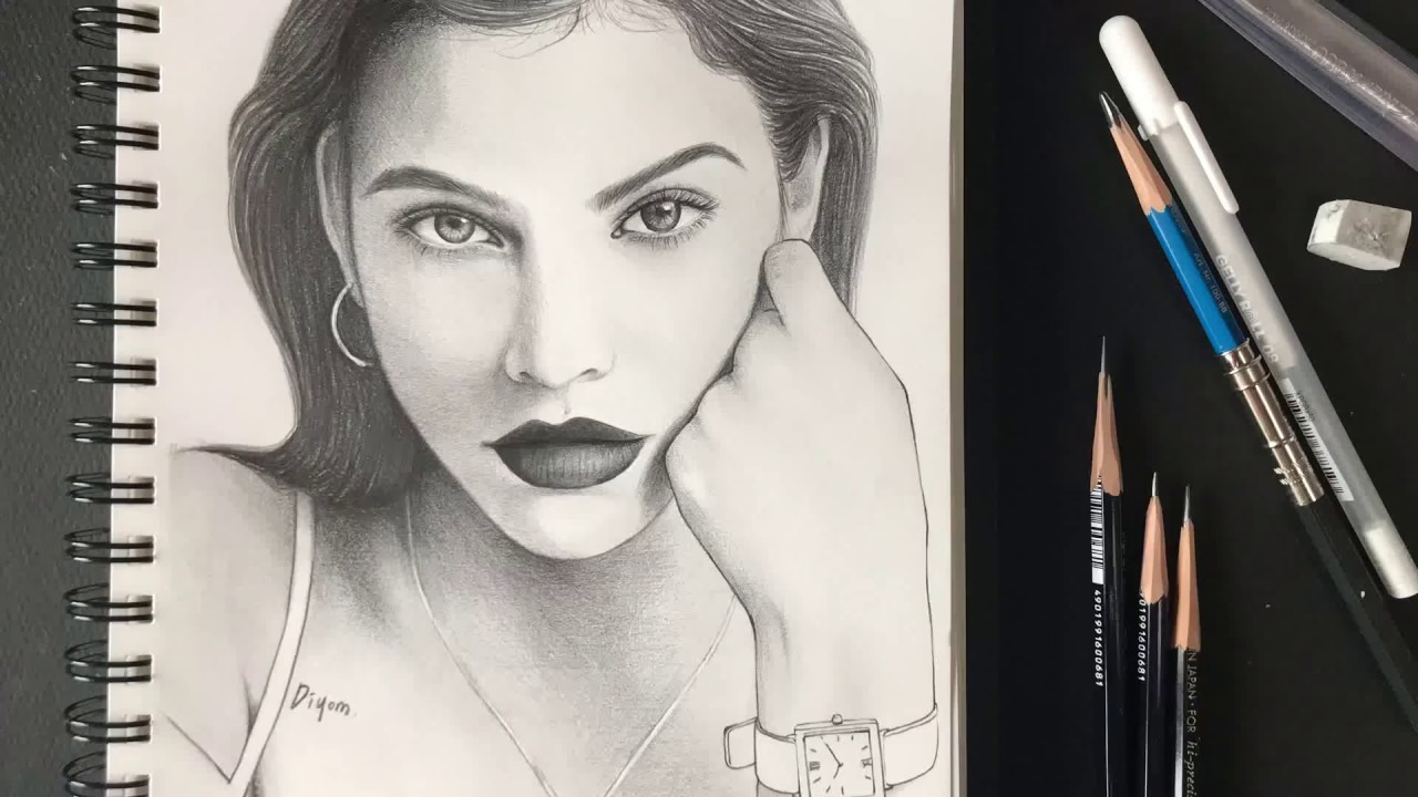 [인물화,연필소묘] 모델 바바라 팔빈(Barbara Palvin) 초상화 그림 그리기 pencil ...