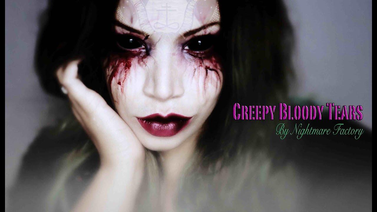 easy halloween make up � creepy bloody tears � youtube