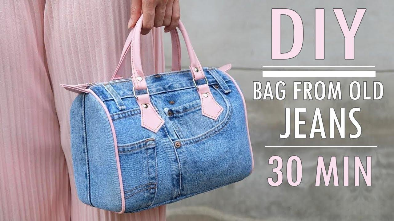 Sweet Diy Jeans Purse Bag Design Zipper Handbag Out Of Old In 30 Min