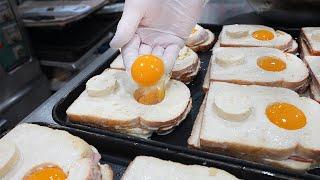 So Cute! Delicious Egg Cheese Toast - Korean street food