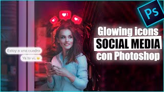 social icons neon glowing photoshop cc