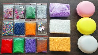 Making Slime with Bags Foam Bricks and Store Bought Slimes