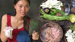 Primitive Technology, Foods and Net Fishing: Village food, Amazing Girl Make Khmer Food