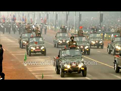 Winners of the Param Vir Chakra lead the Republic Day Parade at Rajpath in New Delhi