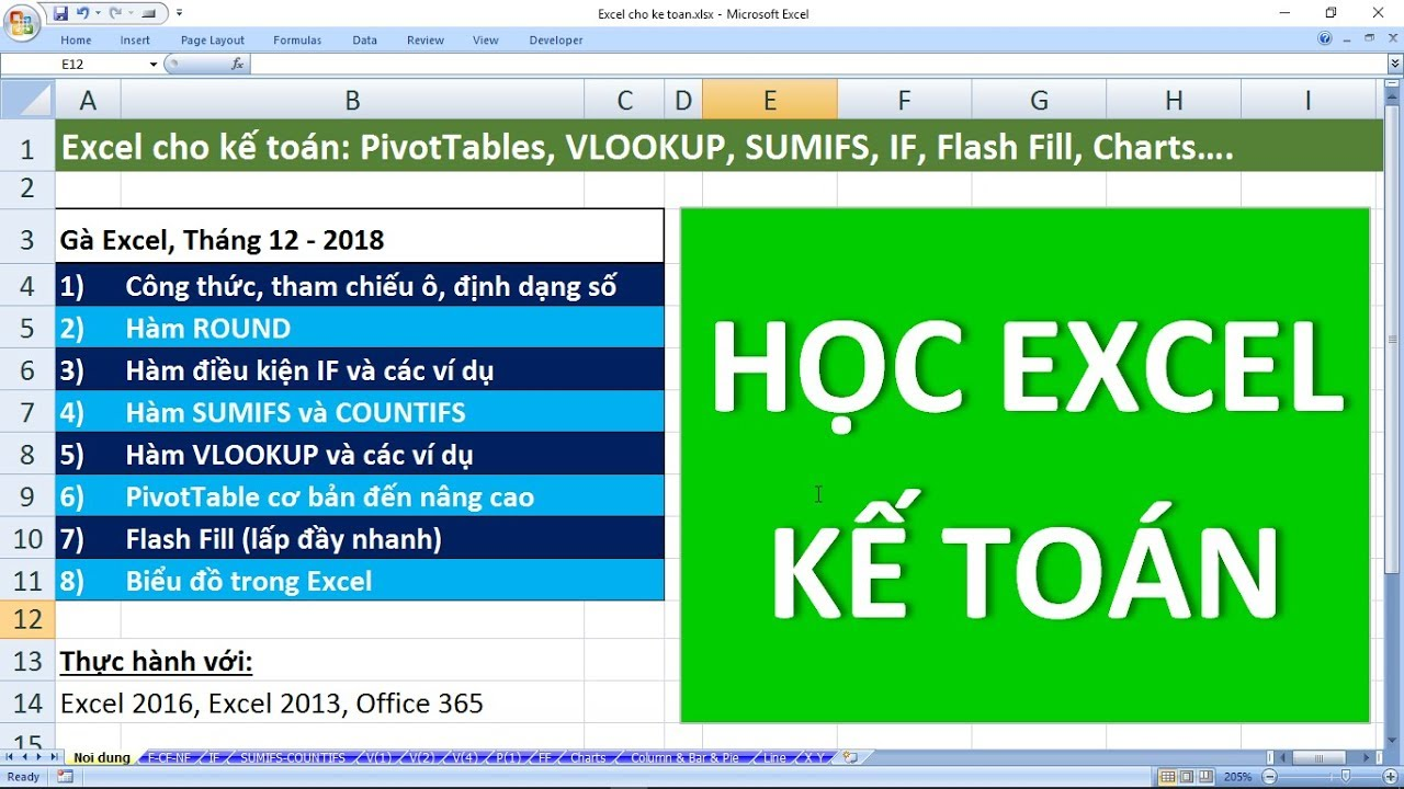 Excel cho kế toán: PivotTable, VLOOKUP, IF, SUMIFS, ROUND, Flash Fill, Chart