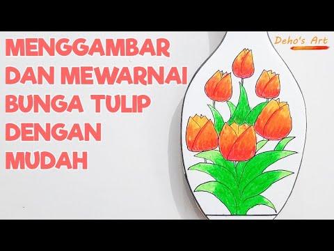 Menggambar dan Mewarnai Bunga Tulip Dengan Mudah | Draw ...