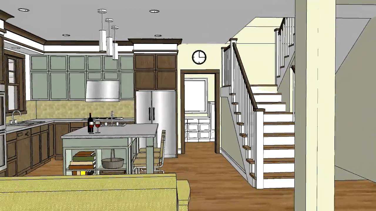 Unique craftsman home design with open floor plan ...