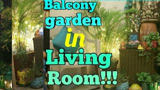 Balcony garden in living room,how to create Balcony in small space,Balcony corner in room