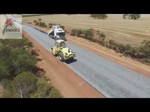 Drone footage of a road being paved in Shire of Moora - Australia